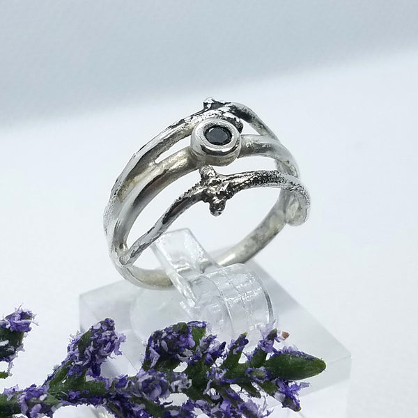 Two Branches Black Diamond Ring