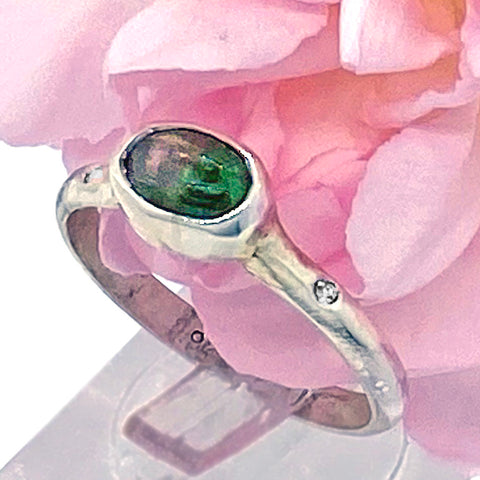 Watermelon Tourmaline & White Diamonds Ring (size 8)
