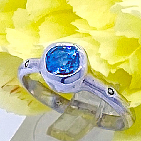 Cambodian Zircon & Diamonds Ring (size 6)