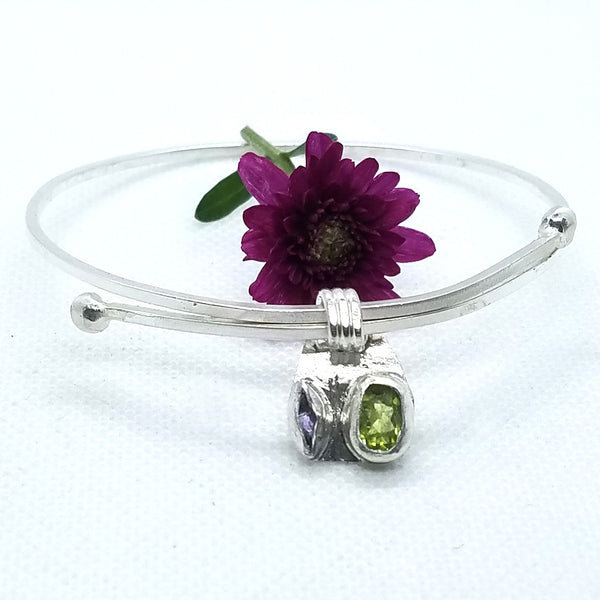 Adjustable Peridot & Amethyst Bangle