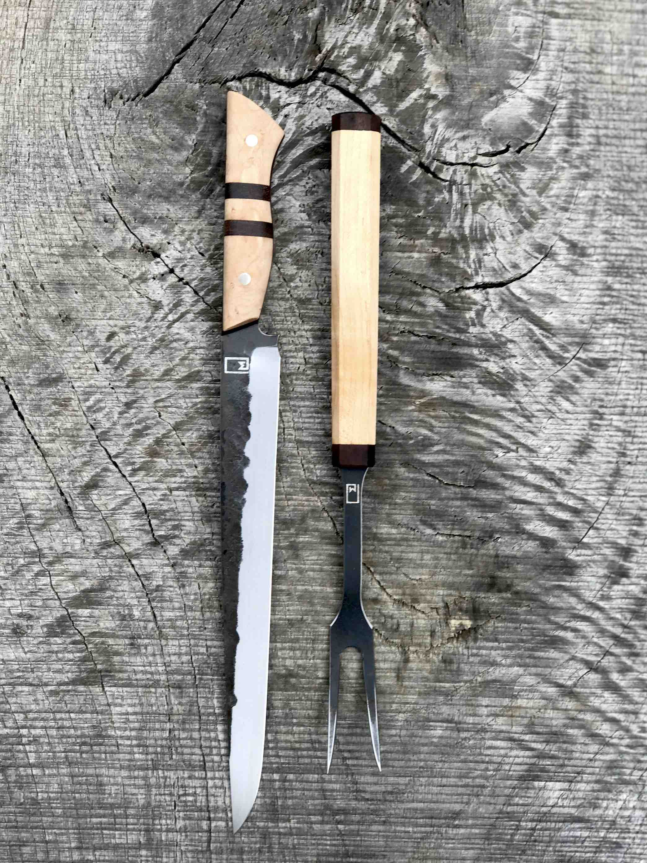 Woodcarving knives wood carving knife hand forged maple burl by