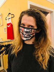 Kate wearing  mask with Ellen's face all over it