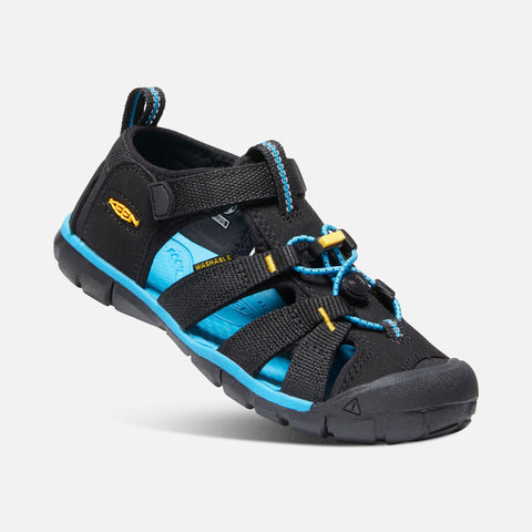 Keen Seacamp Youth Sandal | Black/Keen Yellow