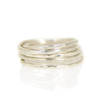 Mineral and Matter Hammered Stacking Ring