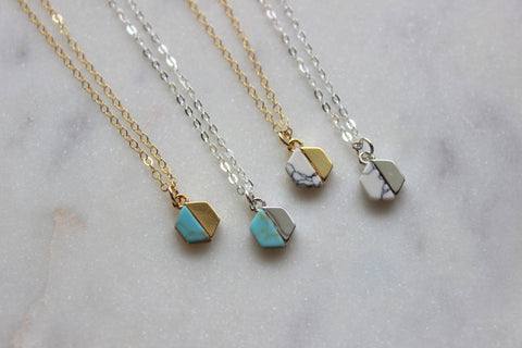 Laalee Turquoise +Silver Hexagon Necklace