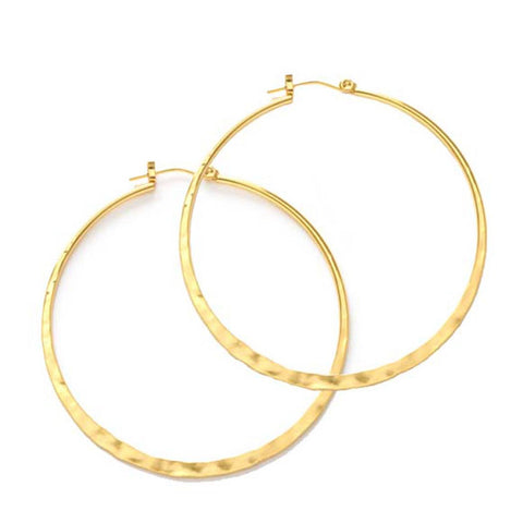 "Amano Studio Gold 2"" Hammered Hoops"