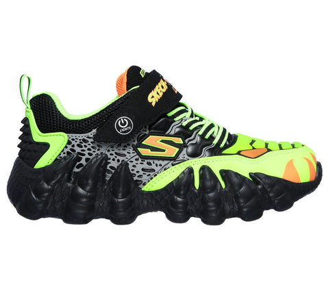 Skechers Kids' Skech-O-Saurus Lights | Black/Lime