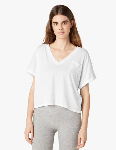 Beyond Yoga Deep V Tee | White