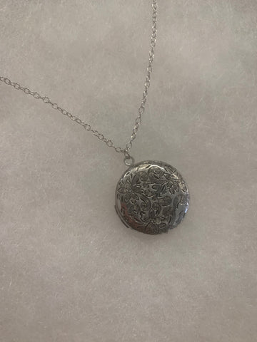 Marigold Mary Silver Etched Locket