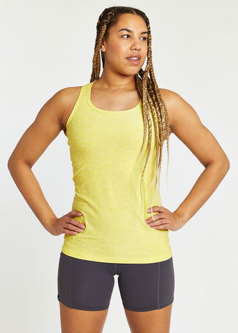 Oiselle Light Lux Long Tank | Lemon/White