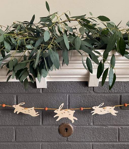 Wood Bunny Garland, Spring + Easter Decor