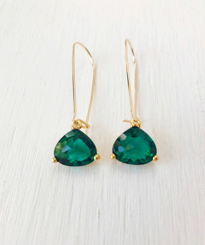 My Girl is Water Jewelry - Emerald Crystal Earrings - Gold