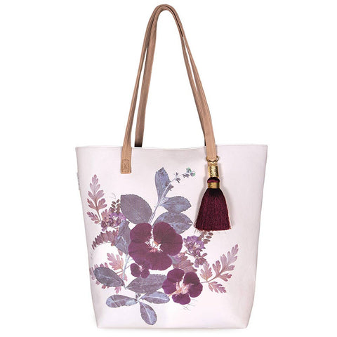PAPAYA - Bucket Tote - Plum Leaves