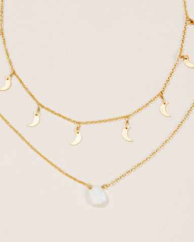 Luna Norte - Phases of the Moon Necklace Set (Moonstone)