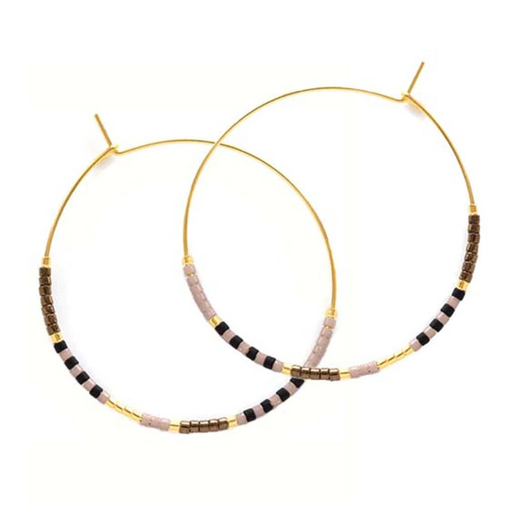 Amano Studio Japanese Seed Bead Hoops (chocolate)
