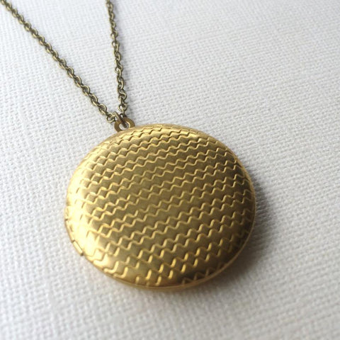 Marigold Mary Brass Chevron Locket