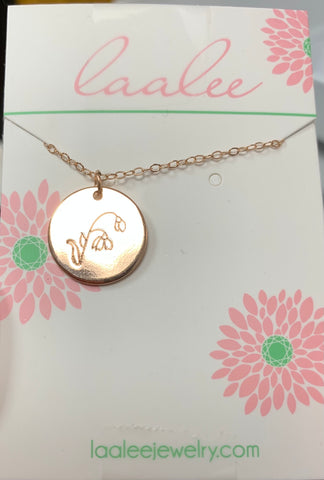 Laalee Rose Gold Jan Snowdrop Necklace