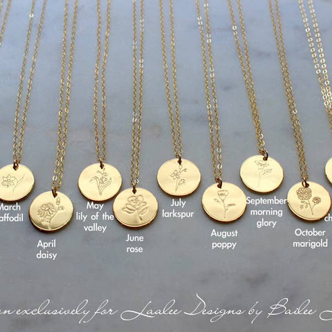 LaaLee Birth Flower Necklaces