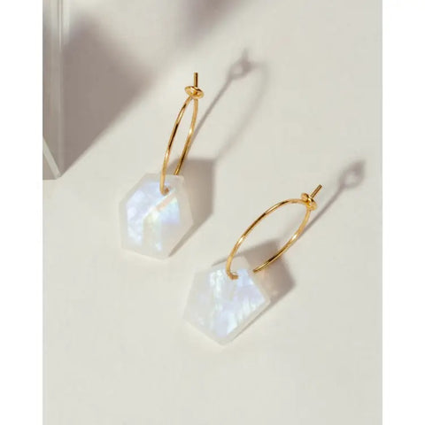 Luna Norte ge*om*e*try Mini Hoop Moonstone Earrings