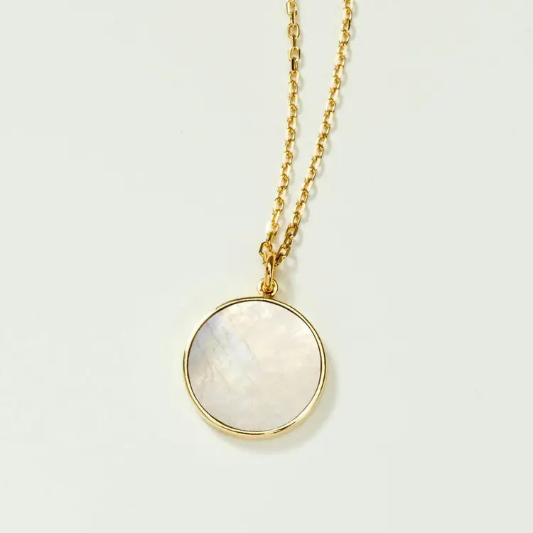 Luna Norte Moonstone Medallion Necklace