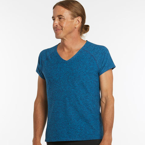 Oiselle Lux V-Neck Tee | Pacific/Grounded