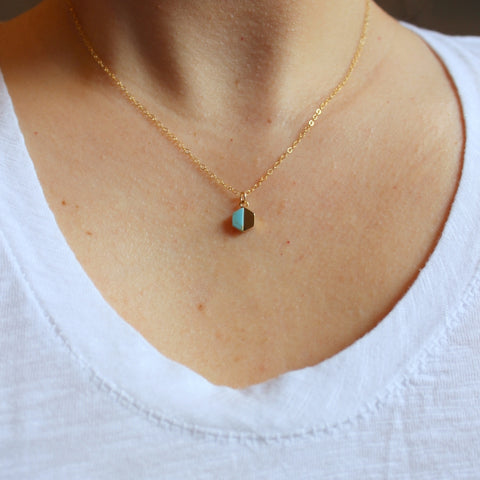 Laalee Turquoise + Gold Hexagon Necklace