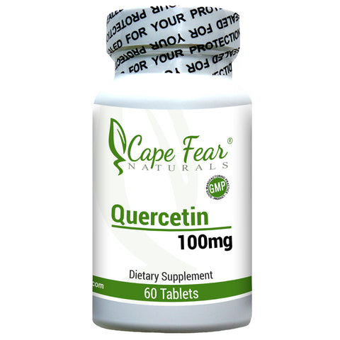 Bottle image of Quercetin, 100mg, 60 tablets, quality seal present on bottle