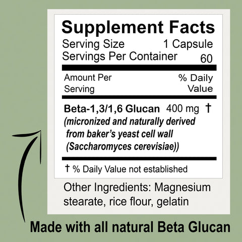 Supplement facts panel, serving size: 1 capsule, servings per container 60, amount per serving 400mg beta-1,3 beta 1,6 glucan (micronized and naturally derived from baker's yeast cell wall, % daily value not established, % daily value not established, other ingredients: magnesium stearate, rice flour, gelatin,