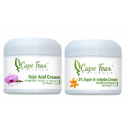 Kojic Acid Cream and 2% Super a-Arbutin Cream Combo Deal- Save $6! - Cape Fear Naturals, LLC
