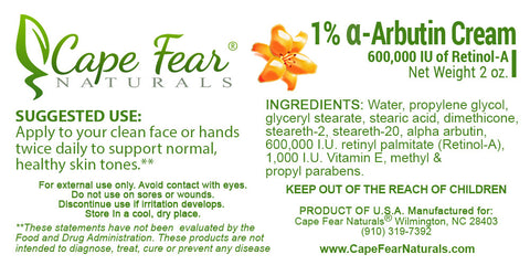 1% α-Arbutin Cream - Cape Fear Naturals, LLC