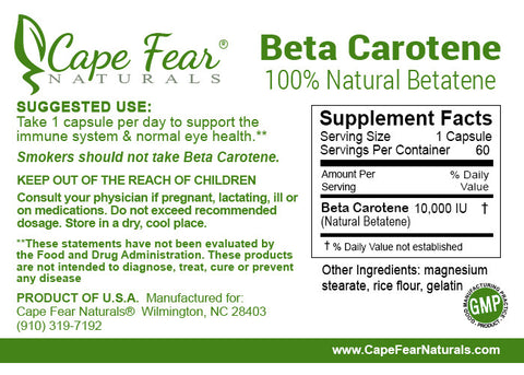 Beta Carotene - Cape Fear Naturals, LLC