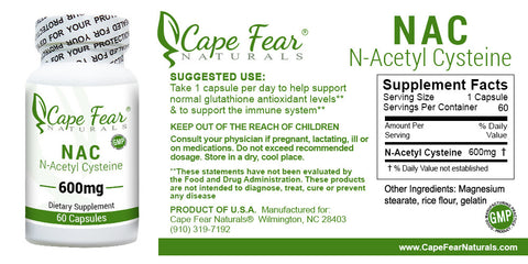 N-Acetyl Cysteine (NAC) Supplement - Cape Fear Naturals, LLC