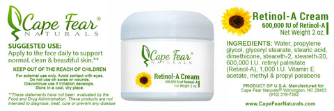 Retinol-A Cream - Cape Fear Naturals, LLC