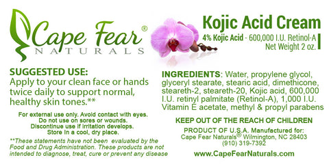 "Kojic Acid Cream  <br><b><FONT COLOR=""RED"">FREE SHIPPING USA</font></b> - Cape Fear Naturals, LLC"