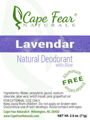 Natural Deodorant - Lavender - Cape Fear Naturals, LLC