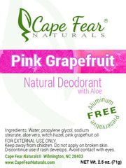 Natural Deodorant - Pink Grapefruit - Cape Fear Naturals, LLC