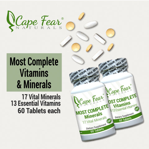 Bottle Images with tablets.  17 Vital Minerals, 13 essential vitamins, 60 tablets each