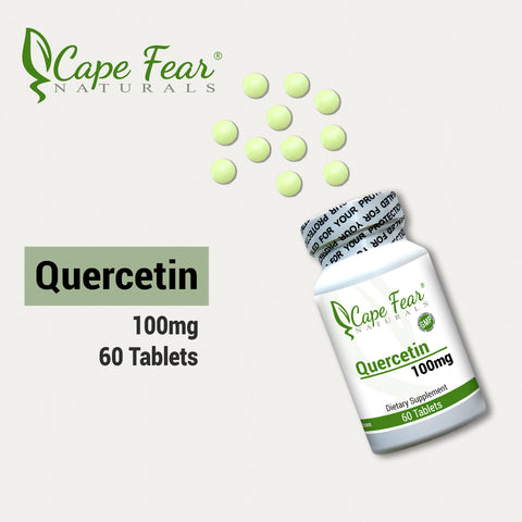 Quercetin, 100mg, 60 tablets, image of bottle with tablets.