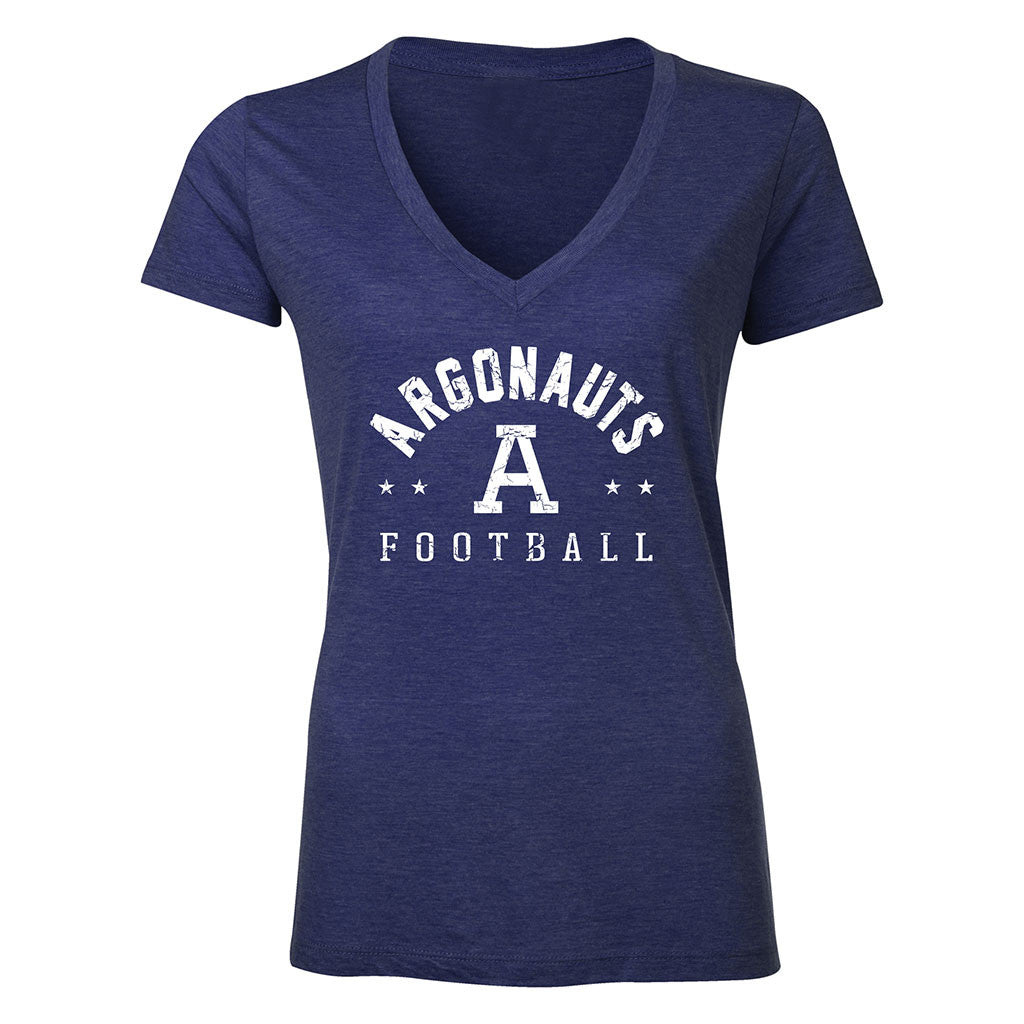 Toronto Argonauts Ladies Exclusive V-Neck Navy Tee - Design 34D