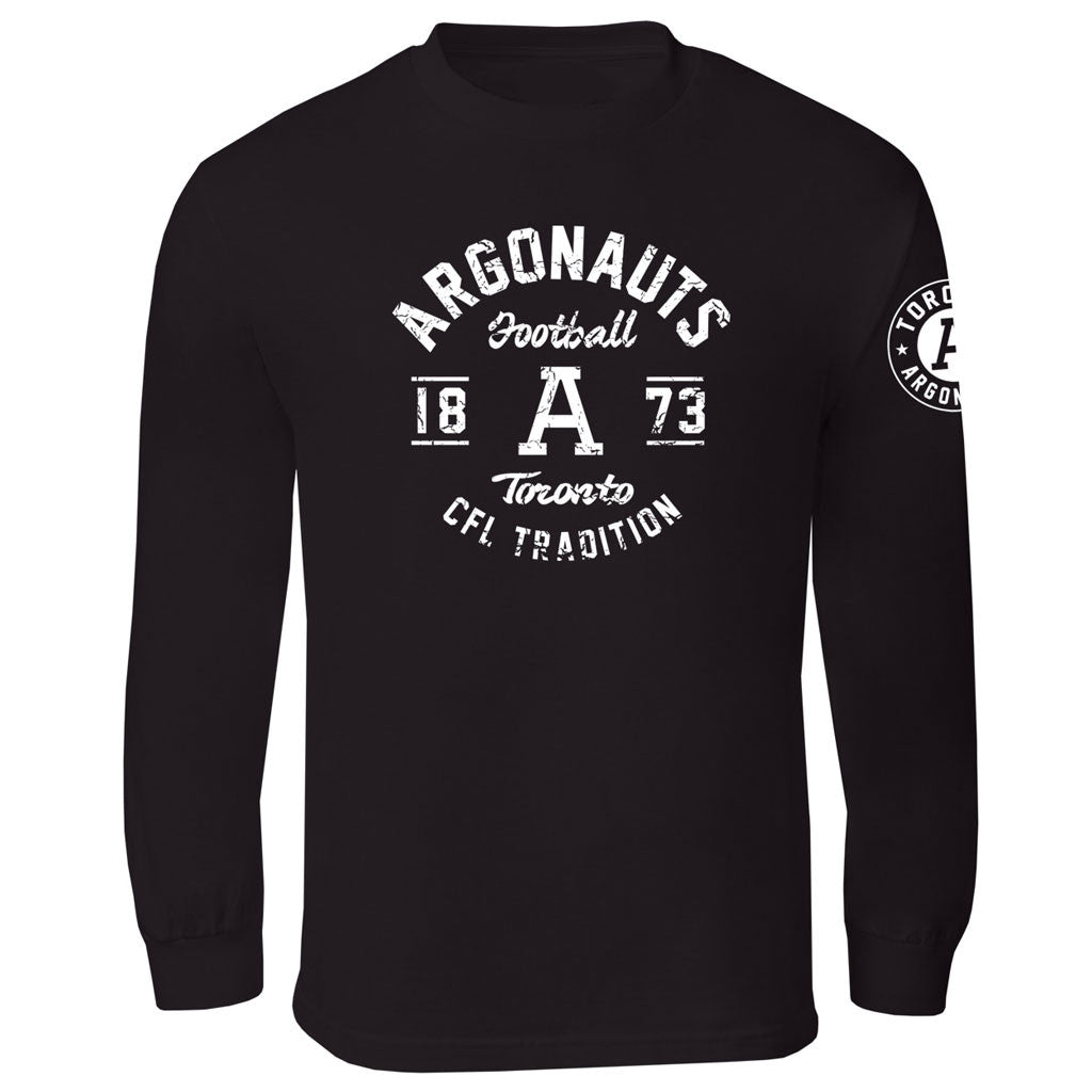 Toronto Argonauts Exclusive Adult Black Long Sleeve Tee - Design 04D/34