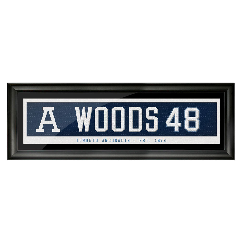 "Toronto Argonauts - Framed 6"" x 22"" Player Art - Woods #48"
