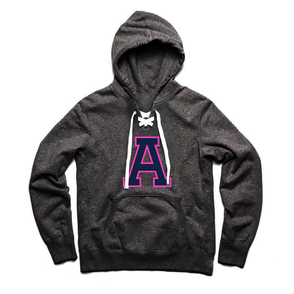 Toronto Argonauts PINK Charcoal Heather Lace Hoodie