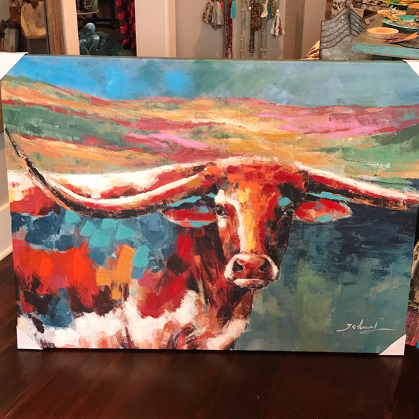 Colorful Longhorn Canvas