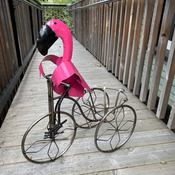 Metal-Tricycle Flamingo Planter