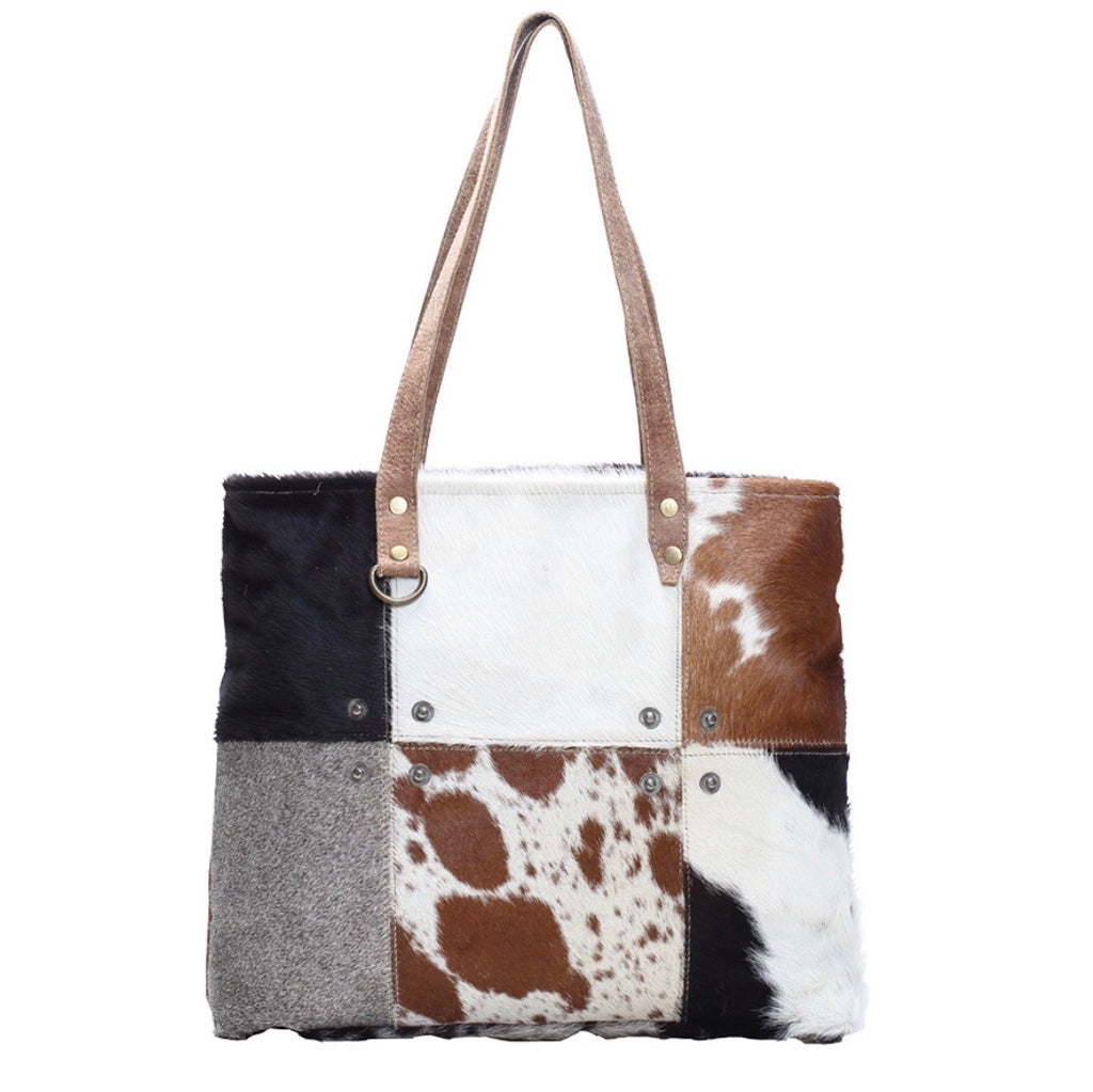 Multi Patch Cowhide Tote Bag