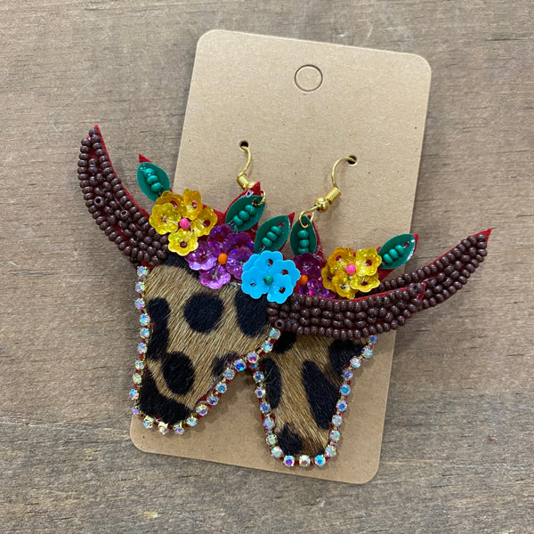 Beaded Leopard Longhorn earrings