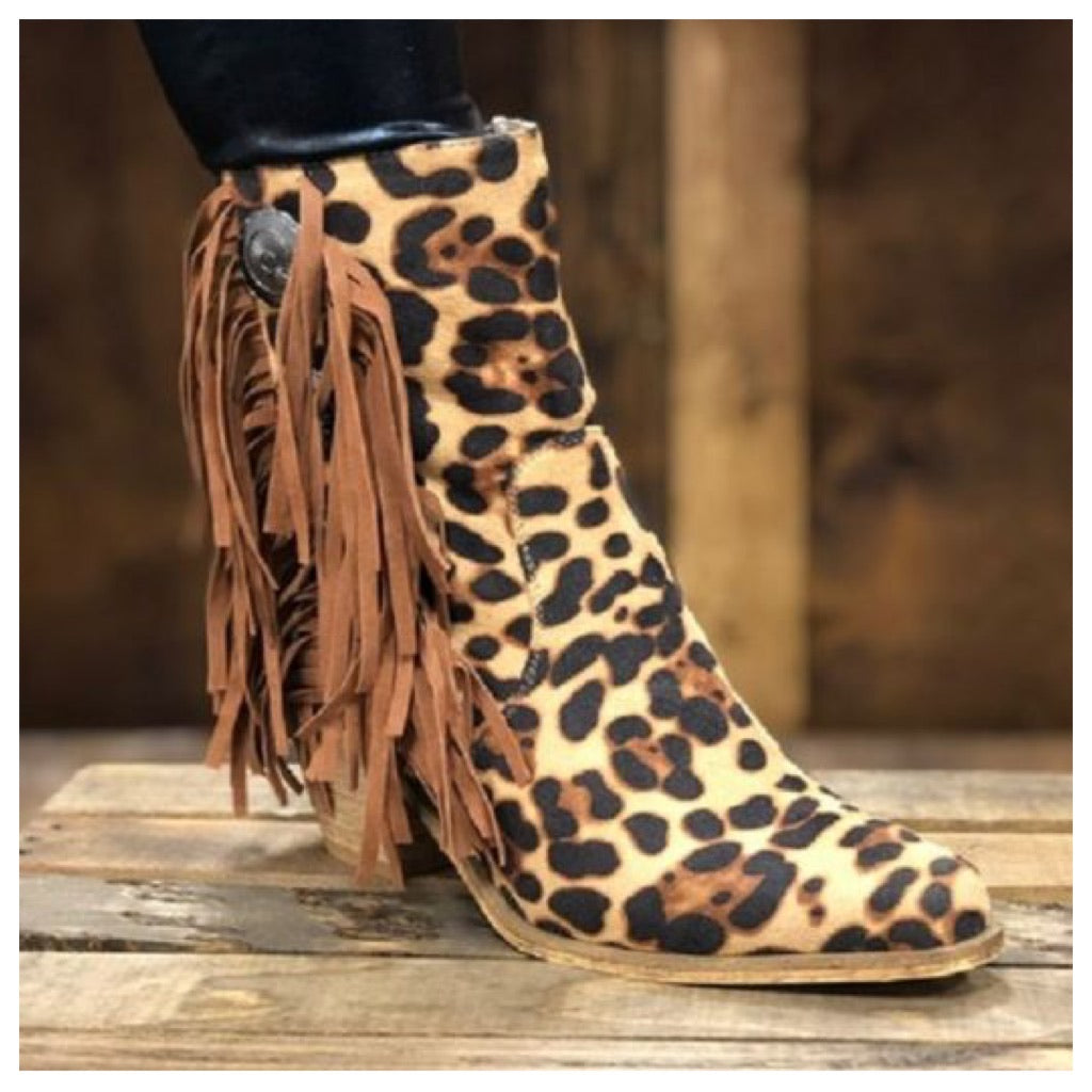 Leopard Concho ankle boot