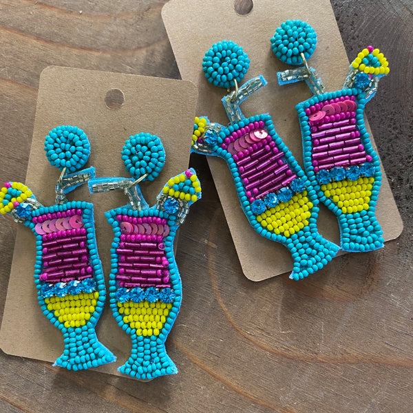 Beaded Tropical Drink earrings - Aqua
