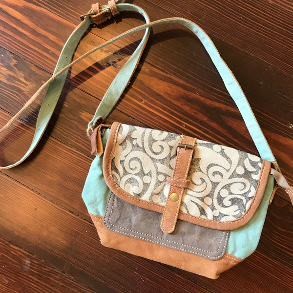 Teal and fabric small bag
