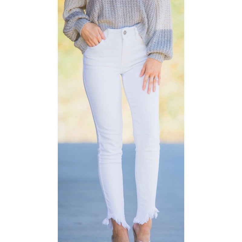 Kan Can Madison white skinnies with frayed hem